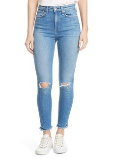 rag & bone Nina Ripped Fray Hem Ankle Skinny Jeans (Colville)