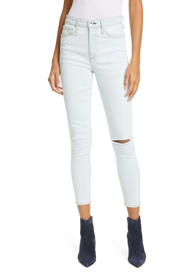 rag & bone Nina Ripped High Waist Ankle Skinny Jeans (Lake District)