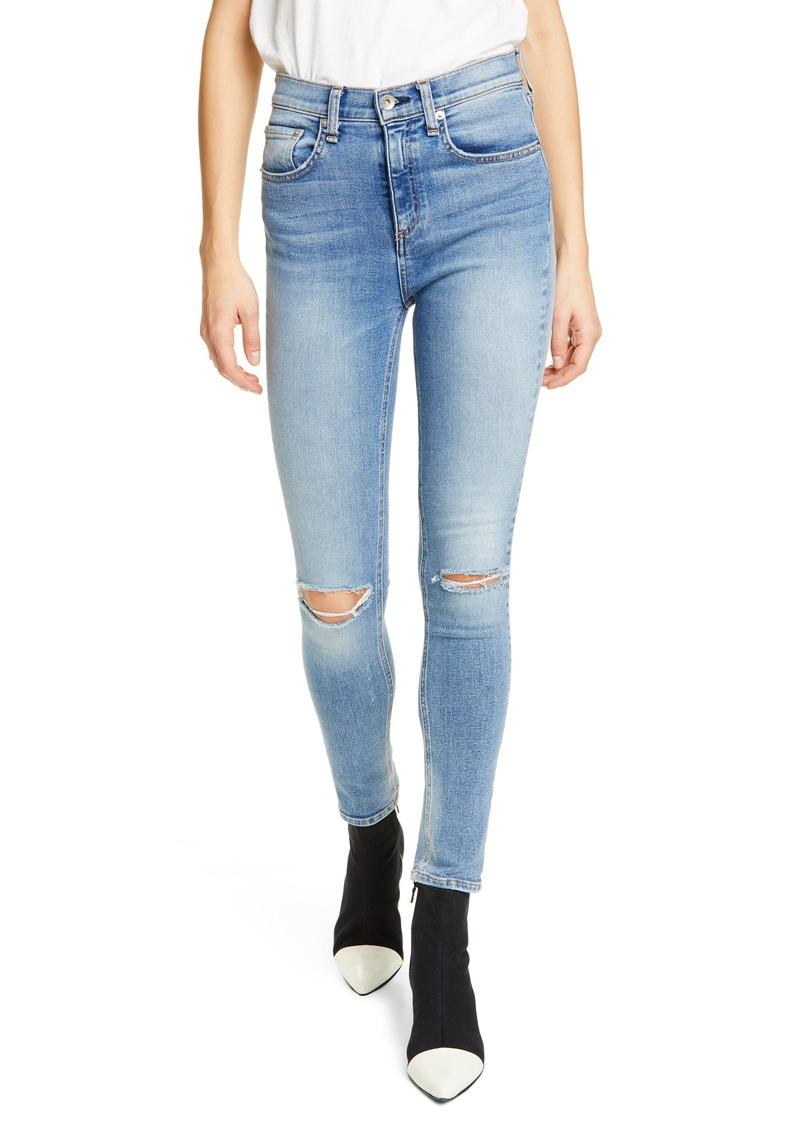 rag & bone Nina Ripped High Waist Ankle Skinny Jeans (Tulsa)