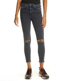 rag & bone Nina Ripped High Waist Ankle Skinny Jeans (Washed Black)