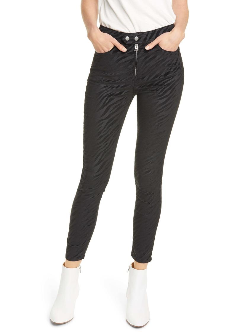 rag & bone Nina Zebra Stripe High Waist Ankle Skinny Jeans