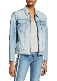 Rag & Bone Oversized Zip-Front Denim Jacket