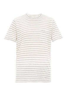Rag & Bone Owen striped slubbed-linen T-shirt