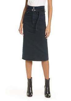 rag & bone Paperbag Waist Denim Midi Skirt