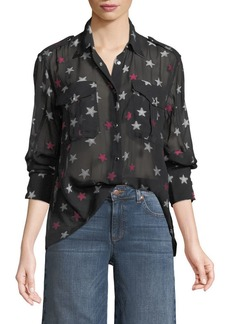 Rag & Bone Pearson Button-Down Star-Print Sheer Silk Shirt