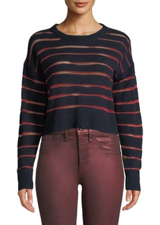 Rag & Bone Penn Cropped Sweater with Sheer Stripe Detail
