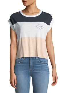 Rag & Bone Percy Crewneck Rolled-Cuff Colorblocked Graphic-Print Tee