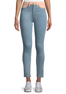 Rag & Bone Phila High-Rise Skinny-Leg Jeans with Colorblocking Detail