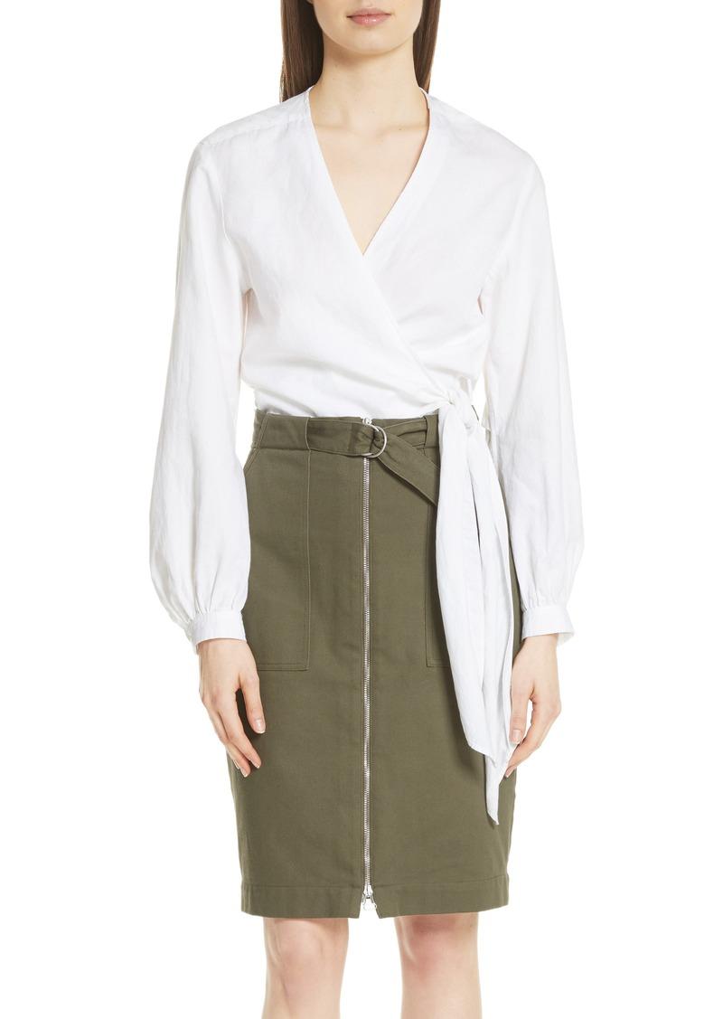 rag & bone Prescot Cotton & Linen Wrap Top