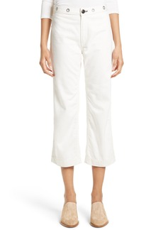 rag & bone RBW18 High Waist Crop Jeans with Genuine Calf Hair Trim