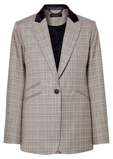 Rag & Bone Ridley Velvet-trimmed Checked Wool And Cotton-blend Blazer