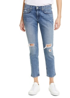 rag & bone Ripped Straight Leg Ankle Jeans (Star City)