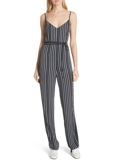rag & bone Rosa Silk Panel Belted Jumpsuit