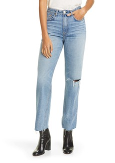 rag & bone Ruth Ripped Super High Waist Ankle Straight Leg Jeans (Melanie)