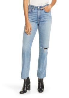 rag & bone Ruth Ripped Super High Waist Ankle Straight Leg Jeans (Melanie)