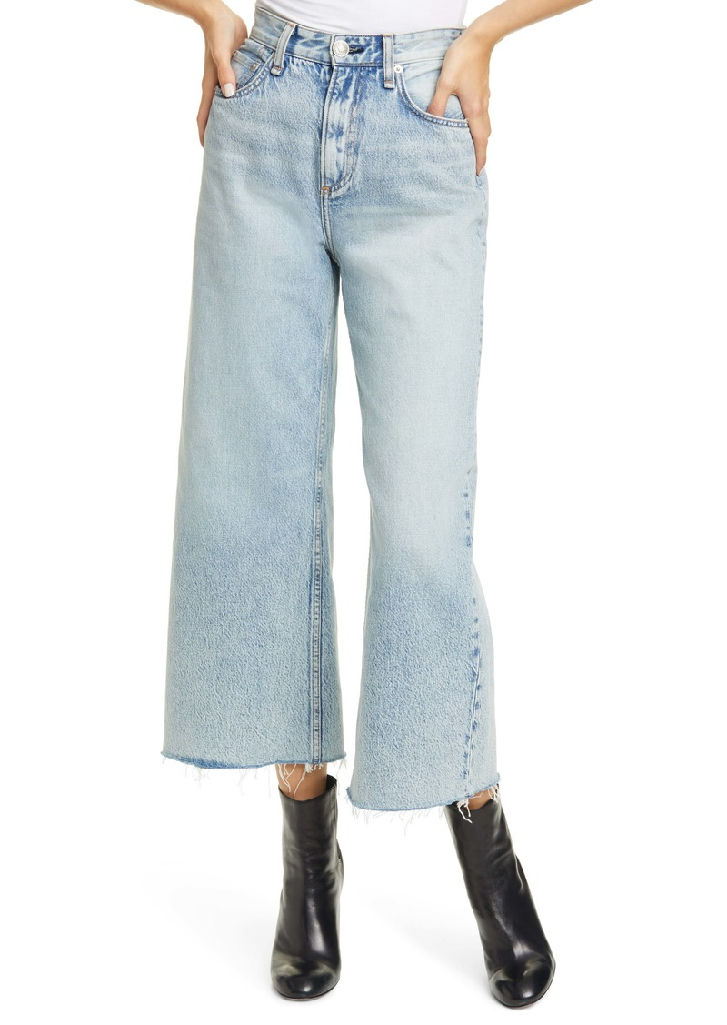 rag & bone Ruth Super High Waist Raw Crop Wide Leg Jeans (Cloudy)