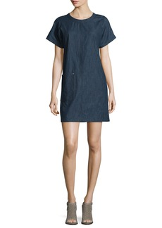 Rag & Bone Ryder Short-Sleeve Chambray Shift Dress