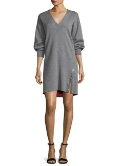 Rag & Bone Saralyn V-Neck Sweatshirt Dress with Snap Detail