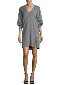 Rag & Bone Saralyn V-Neck Sweatshirt Dress with Snap Detail