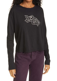 rag & bone Scribble Rose Crop Graphic Tee