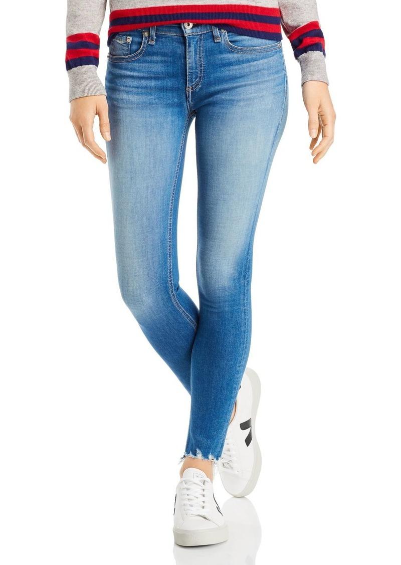 rag & bone Shredded-Hem Ankle Skinny Jeans in Flint