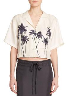 Rag & Bone Silk Palm Tree-Print Cropped Top