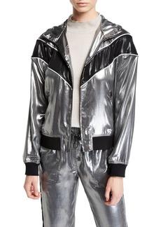 Rag & Bone Sloane Metallic Hooded Track Jacket