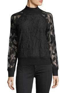 Rag & Bone Sofiya Mock-Neck Knit Sweater with Lace