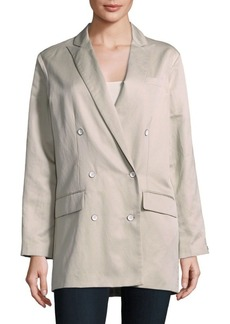 Rag & Bone Solid Double-Breasted Cotton Blend Jacket