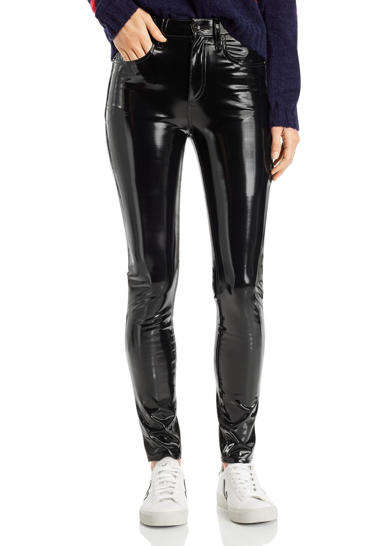 rag & bone Super High-Rise Vinyl Ankle Skinny Jeans in Black