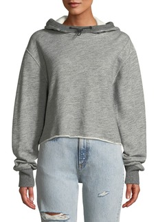Rag & Bone Sweat Raw-Edge Cotton Pullover Hoodie