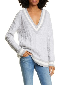 rag & bone Theon Merino Wool Plunge Neck Tennis Sweater