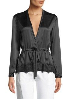 Rag & Bone Tomlin V-Neck Long-Sleeve Satin Silk Shirt