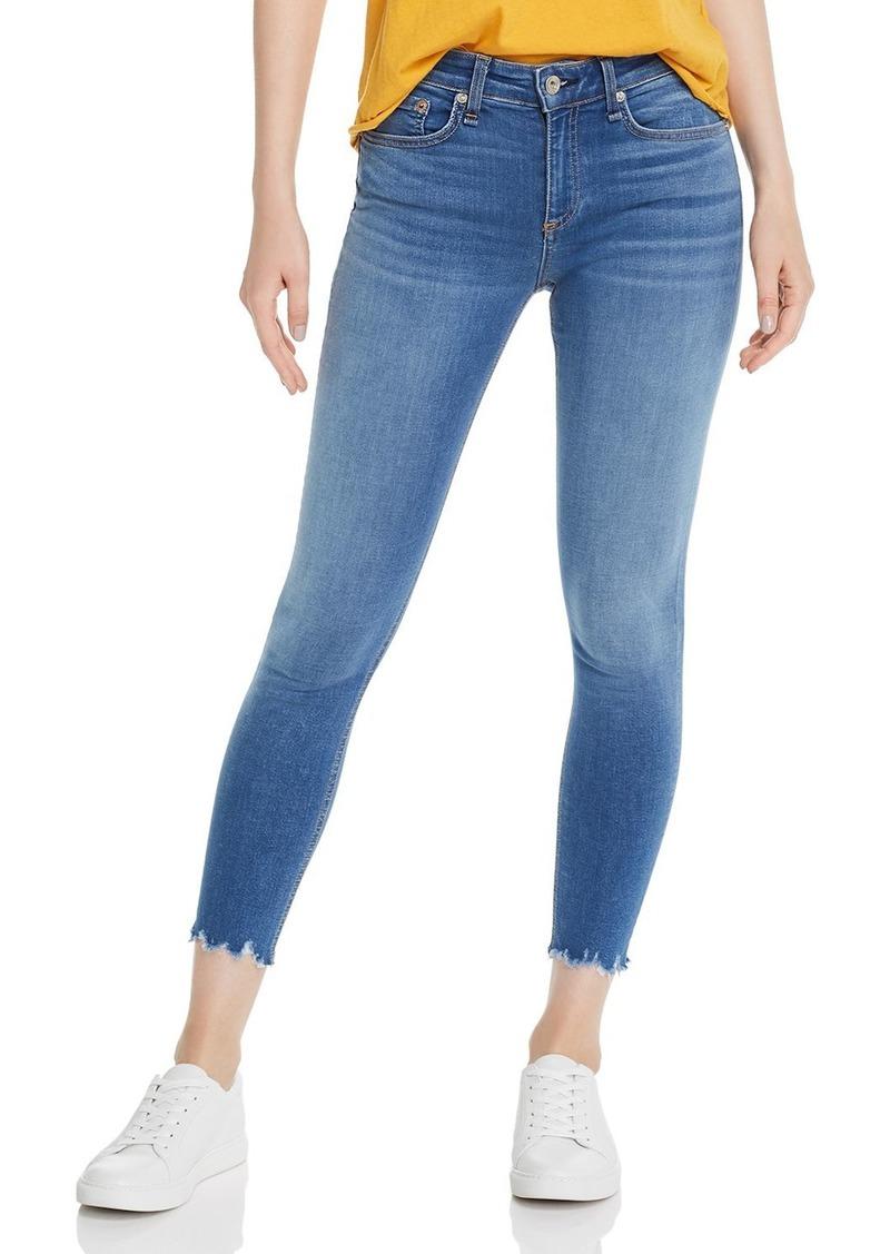 rag & bone Ultra Cropped Chewed-Hem Skinny Jeans in Flint