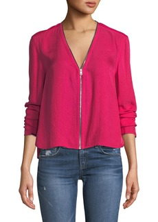 Rag & Bone Vanessa V-Neck Zip-Front Long-Sleeve Top