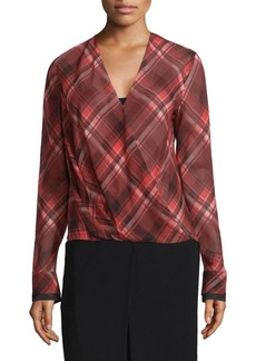 Victor Plaid Drape Blouse