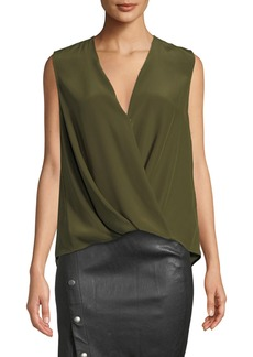 Rag & Bone Victor Sleeveless Draped Silk Charmeuse Blouse