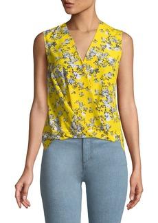 Rag & Bone Victor Sleeveless Wrap-Front Garden Floral-Print Silk Blouse