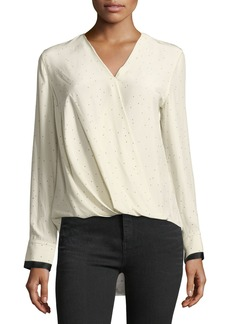 Rag & Bone Victor Speckled Long-Sleeve Draped Silk Blouse