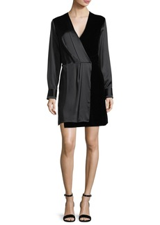 Rag & Bone Victor V-Neck Wrap Silk Short Dress