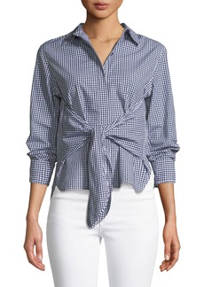 Rag & Bone Wendy Tie-Front Gingham Shirt