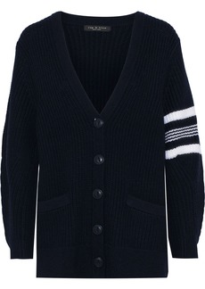 Rag & Bone Woman Addams Ribbed Merino Wool Cardigan Midnight Blue
