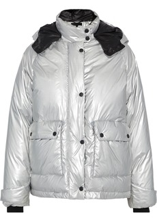 Rag & Bone Woman Aiden Metallic Shell Hooded Down Jacket Silver