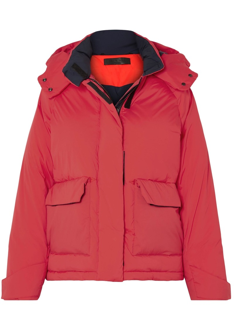 Rag & Bone Woman Aiden Shell Hooded Down Coat Tomato Red