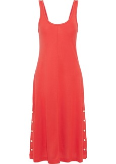 Rag & Bone Woman Allegra Button-detailed Jersey Midi Dress Tomato Red