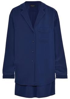 Rag & Bone Woman Alyse Washed-silk Shirt Navy