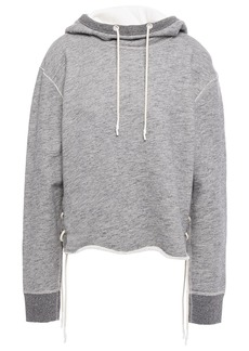 Rag & Bone Woman Amelia Lace-up French Cotton-terry Hoodie Gray