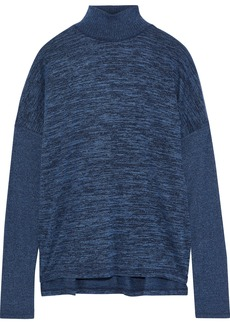 Rag & Bone Woman Amelie Cutout Mélange Stretch-knit Turtleneck Top Cobalt Blue