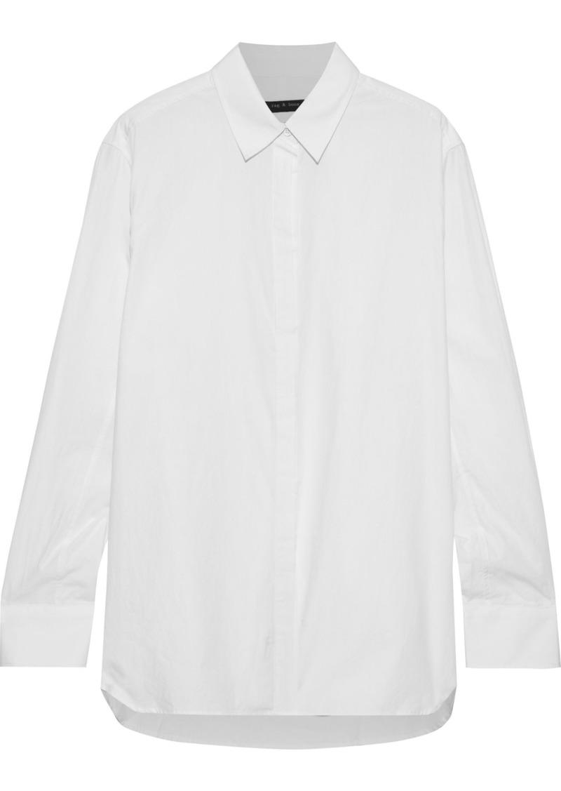 Rag & Bone Woman Anderson Cotton And Silk-blend Poplin Shirt White