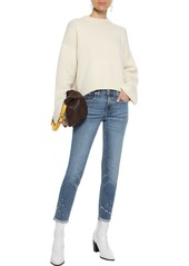 Rag & Bone Woman Ankle Dre Cropped Distressed Mid-rise Slim-leg Jeans Mid Denim